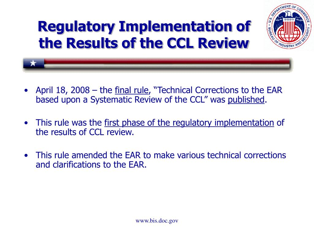 Regulatory Implementation of the Results of the CCL Review