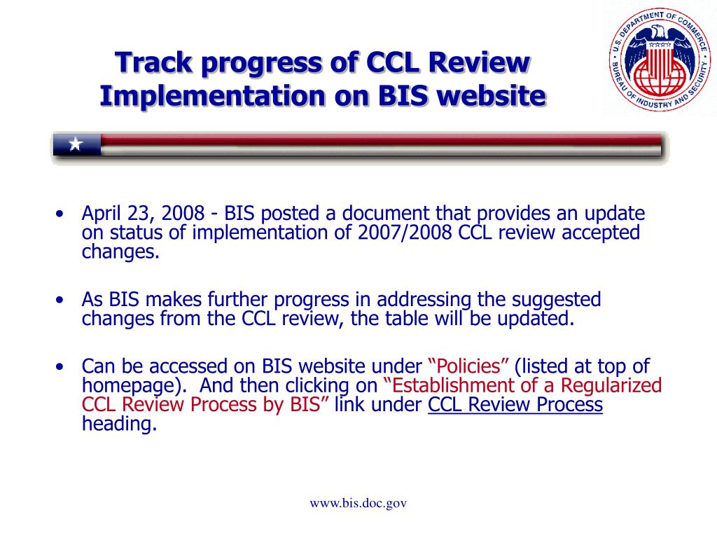 Track progress of CCL Review Implementation on BIS website