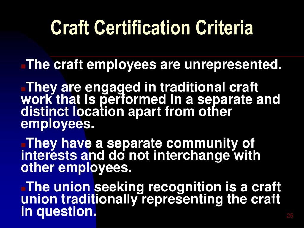 Craft Certification Criteria