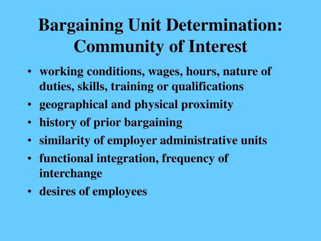 Bargaining Unit Determination:  Community of Interest