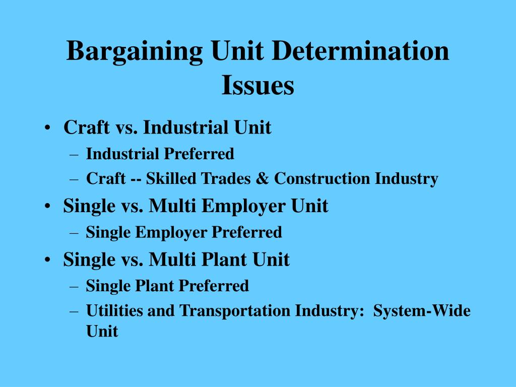 Bargaining Unit Determination  Issues