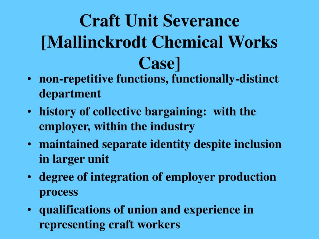 Craft Unit Severance