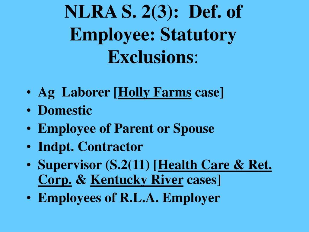 NLRA S. 2(3):  Def. of Employee: Statutory Exclusions