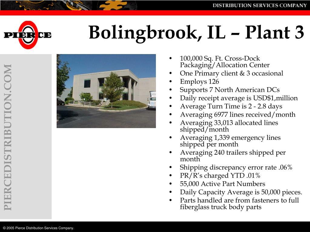 Bolingbrook, IL – Plant 3