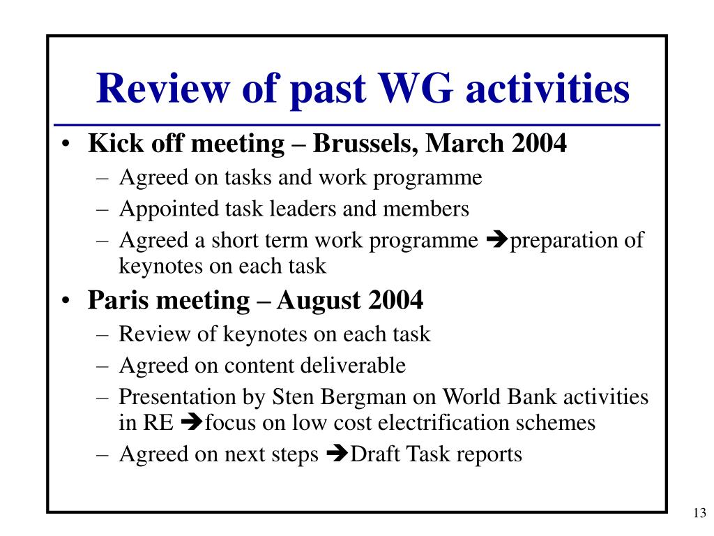 Review of past WG activities
