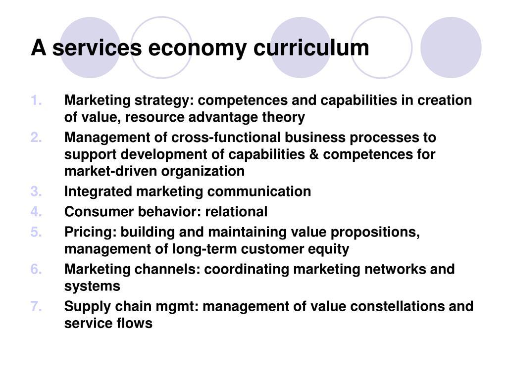 A services economy curriculum