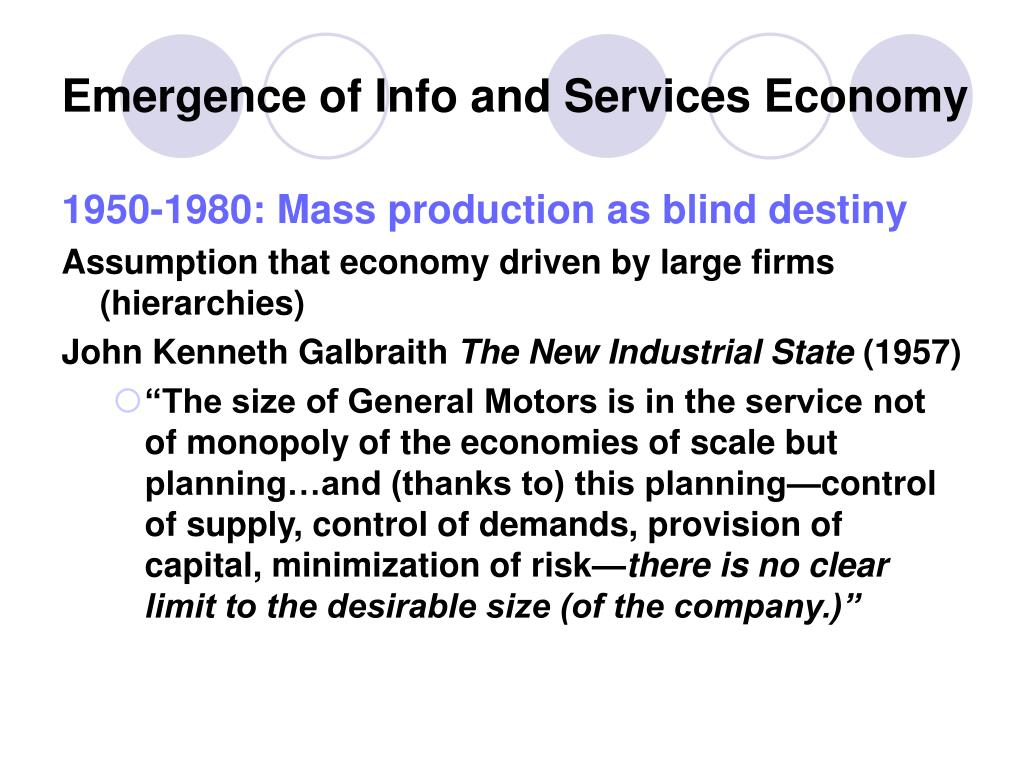 Emergence of Info and Services Economy