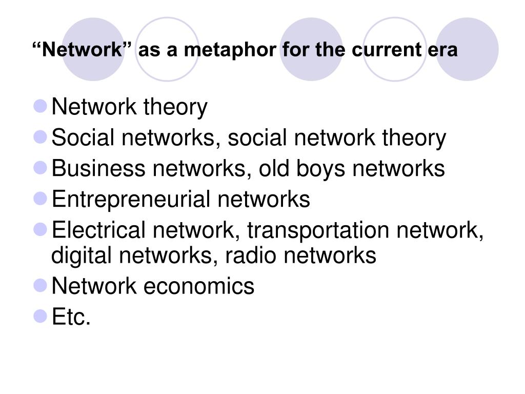 """""""Network"""" as a metaphor for the current era"""