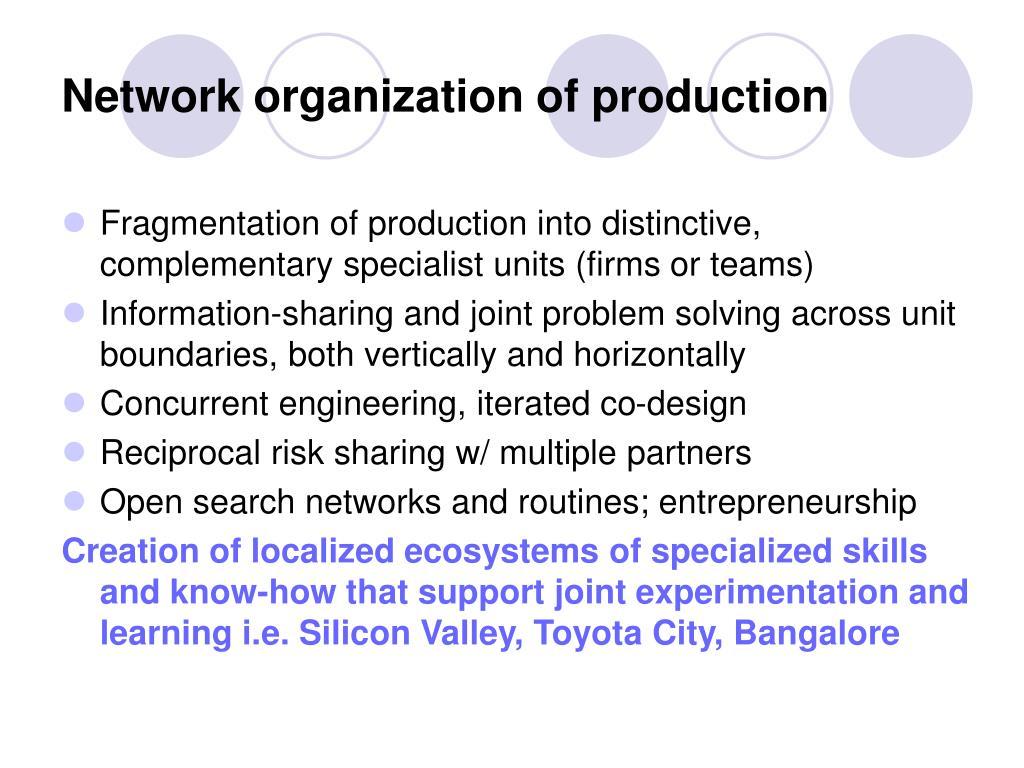 Network organization of production