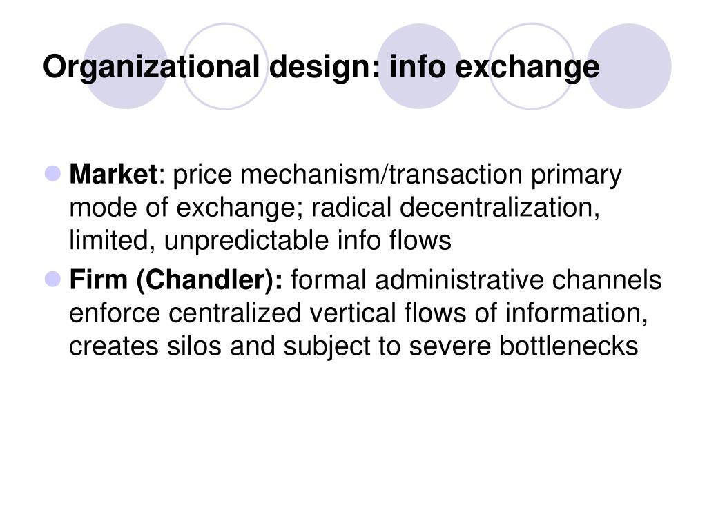 Organizational design: info exchange
