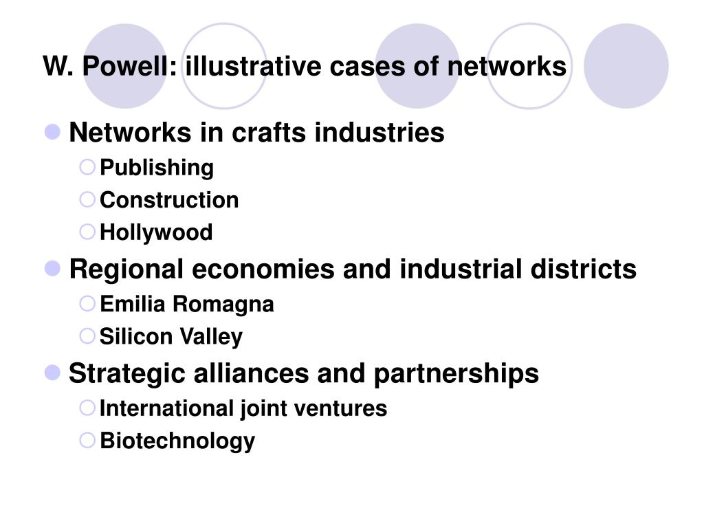 W. Powell: illustrative cases of networks