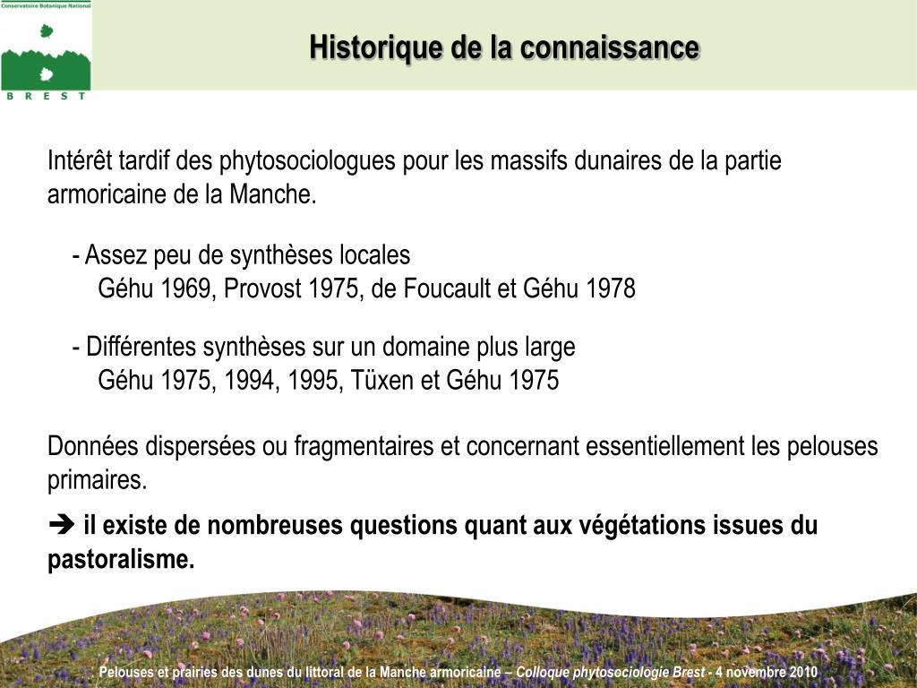 Historique de la connaissance
