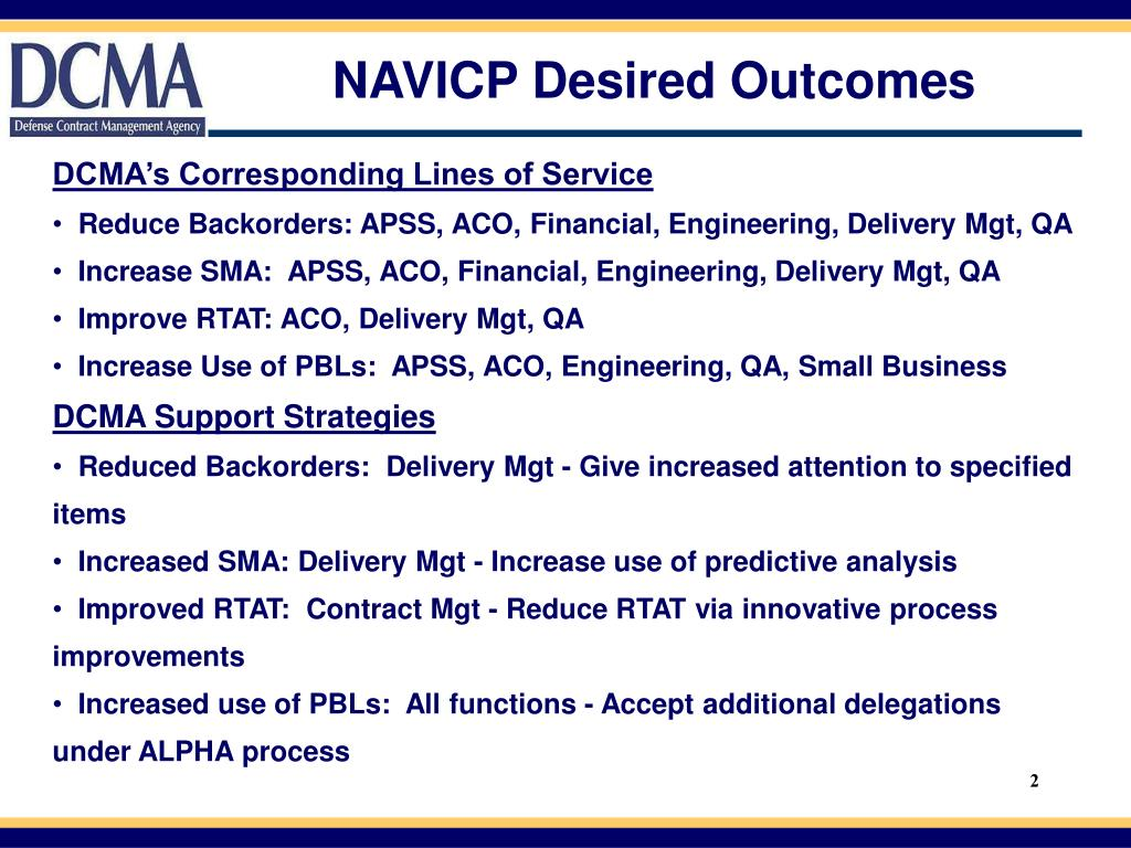 NAVICP Desired Outcomes