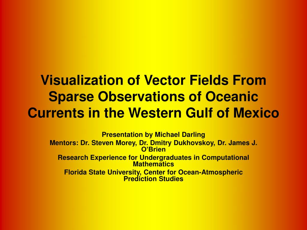 Visualization of Vector Fields From Sparse Observations of Oceanic Currents in the Western Gulf of Mexico