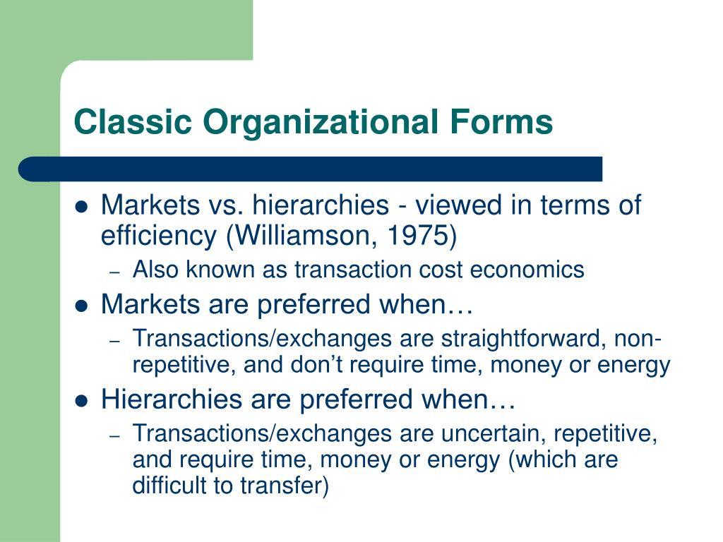 Classic Organizational Forms