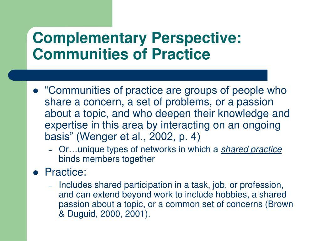 Complementary Perspective: Communities of Practice