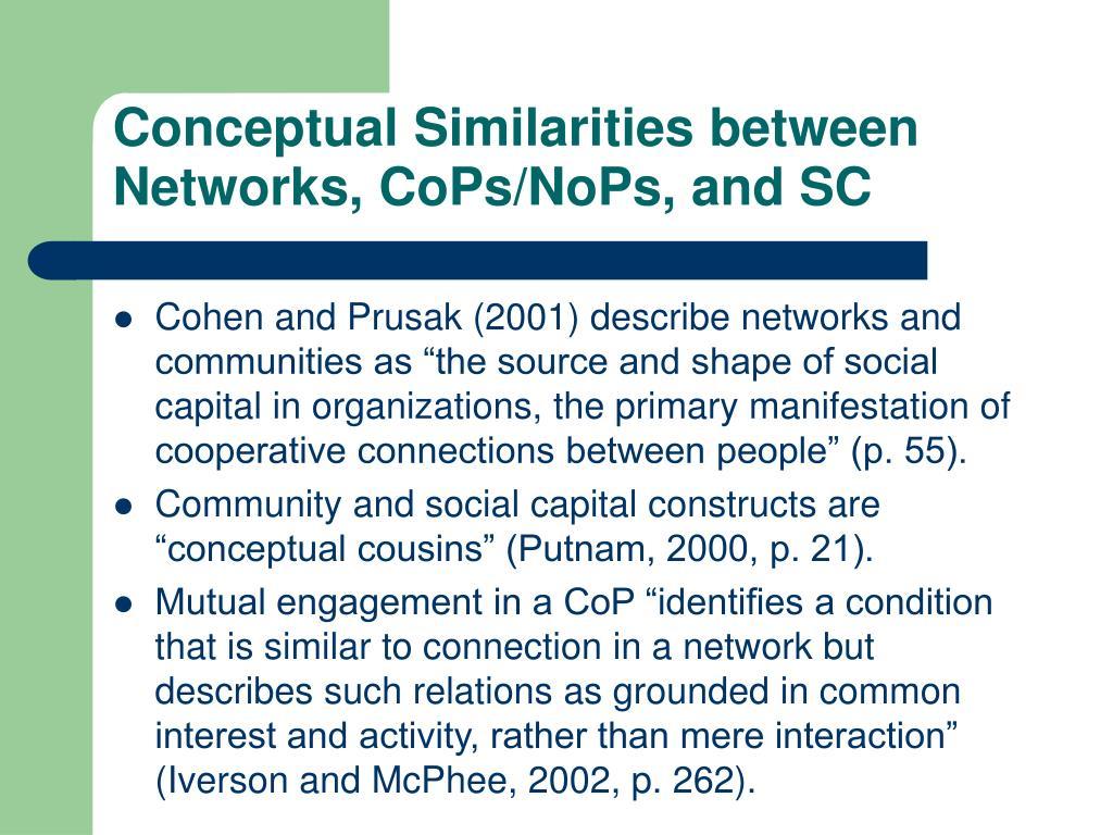 Conceptual Similarities between Networks, CoPs/NoPs, and SC