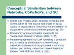 conceptual similarities between networks cops nops and sc