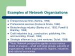 examples of network organizations