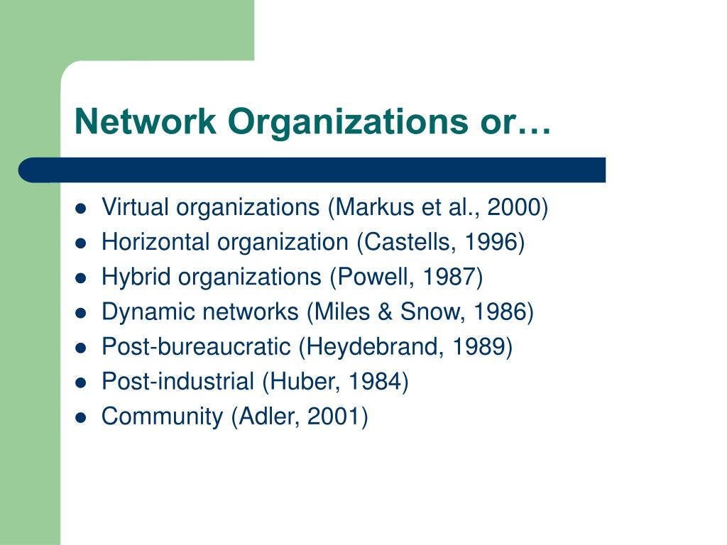 Network Organizations or…