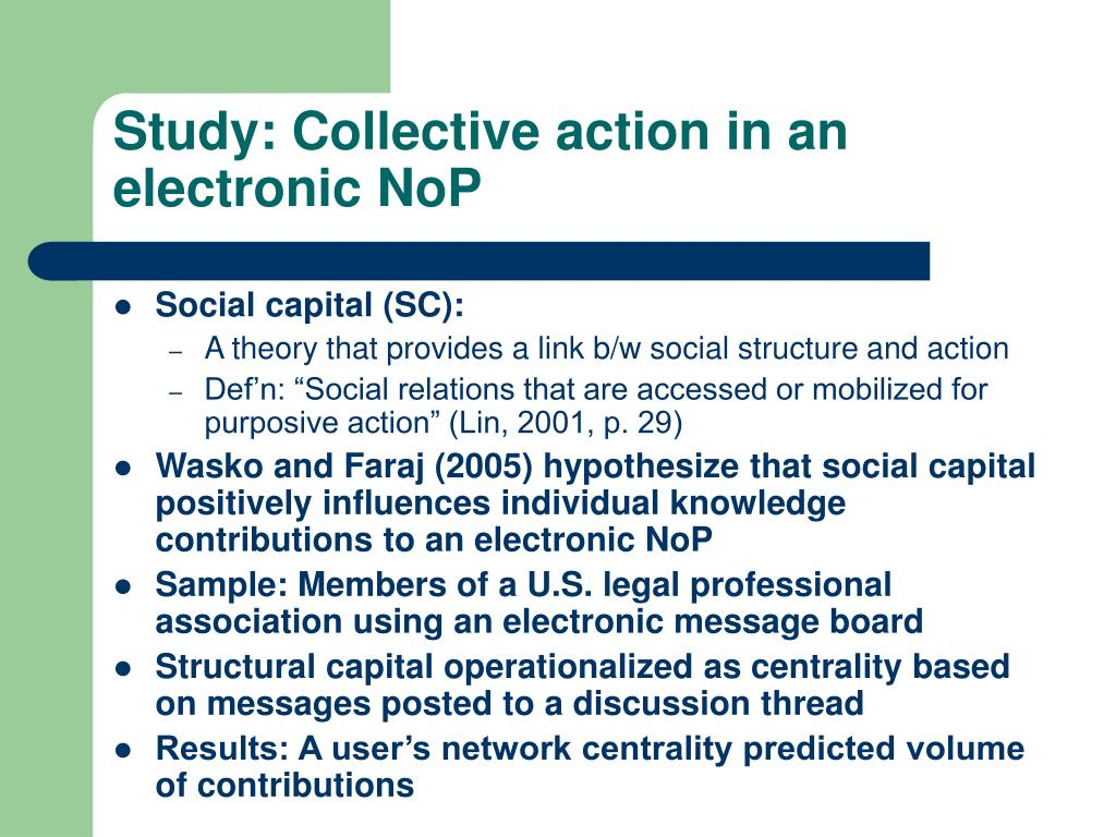 Study: Collective action in an electronic NoP