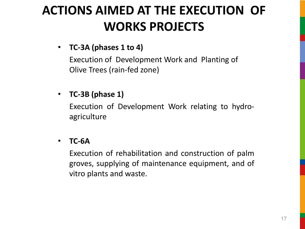 ACTIONS AIMED AT THE EXECUTION  OF WORKS PROJECTS
