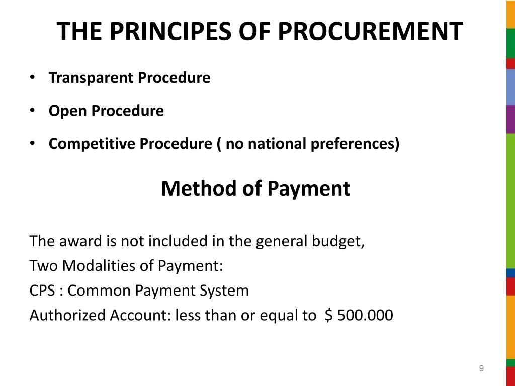 THE PRINCIPES OF PROCUREMENT