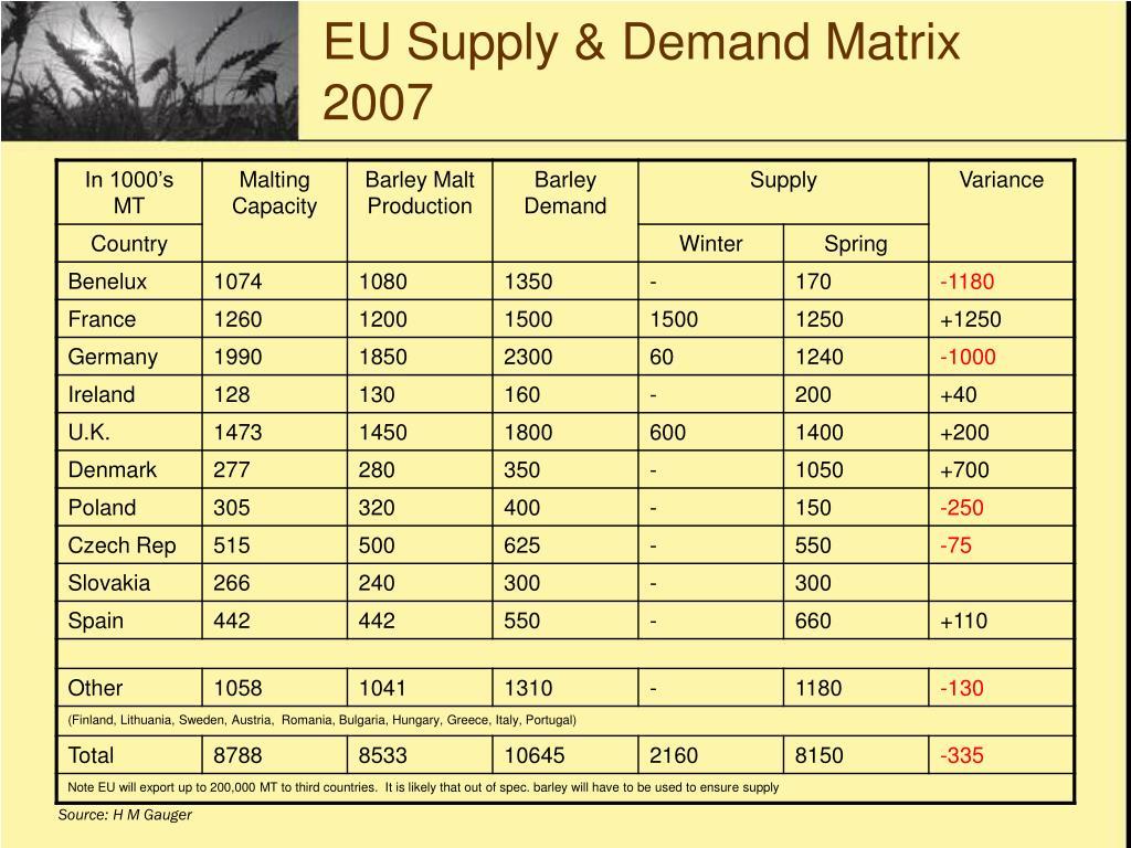 EU Supply & Demand Matrix 2007