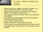 europe barley yields and quality