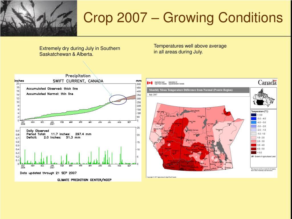 Crop 2007 – Growing Conditions