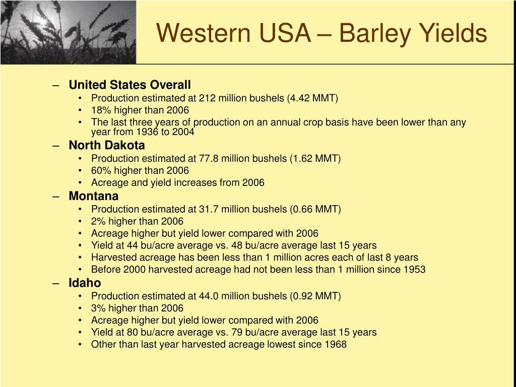 Western USA – Barley Yields