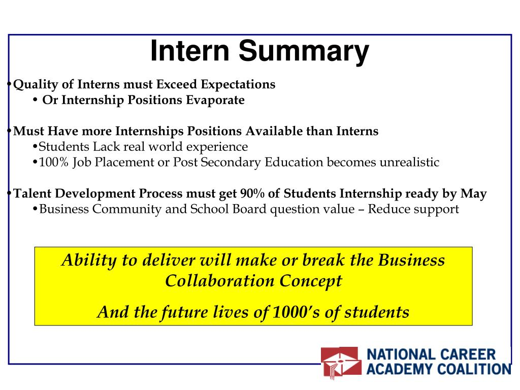 Intern Summary