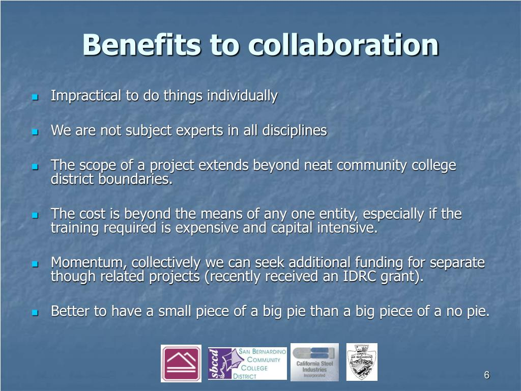 Benefits to collaboration