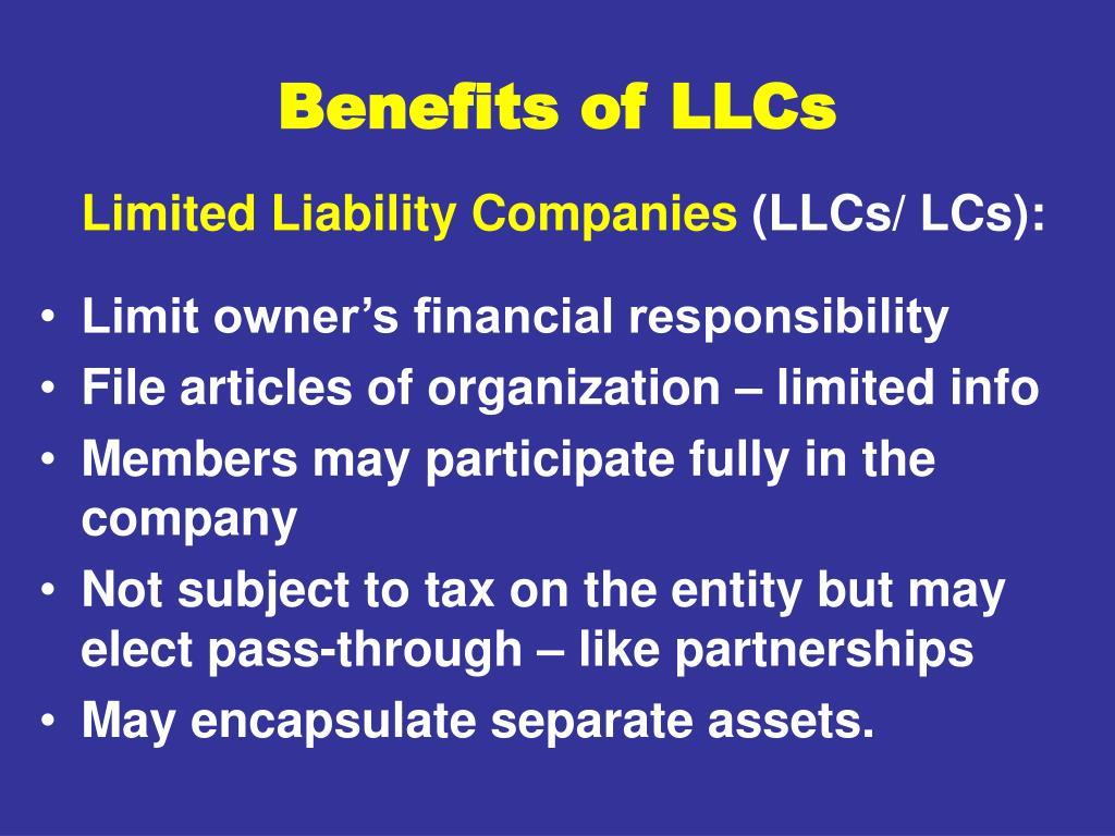 Benefits of LLCs
