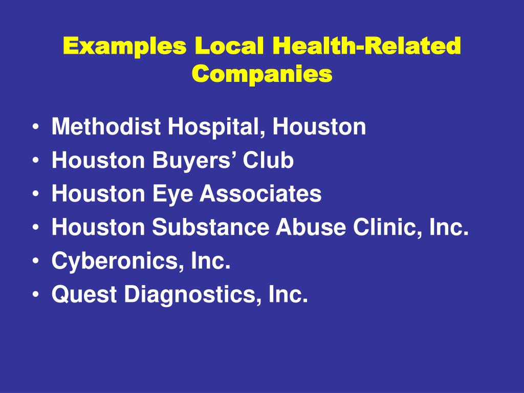 Examples Local Health-Related Companies