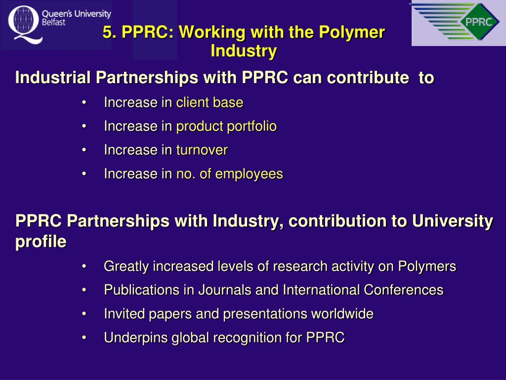 5. PPRC: Working with the Polymer Industry