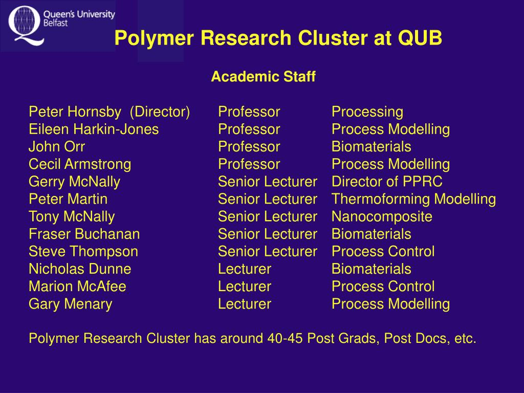 Polymer Research Cluster at QUB