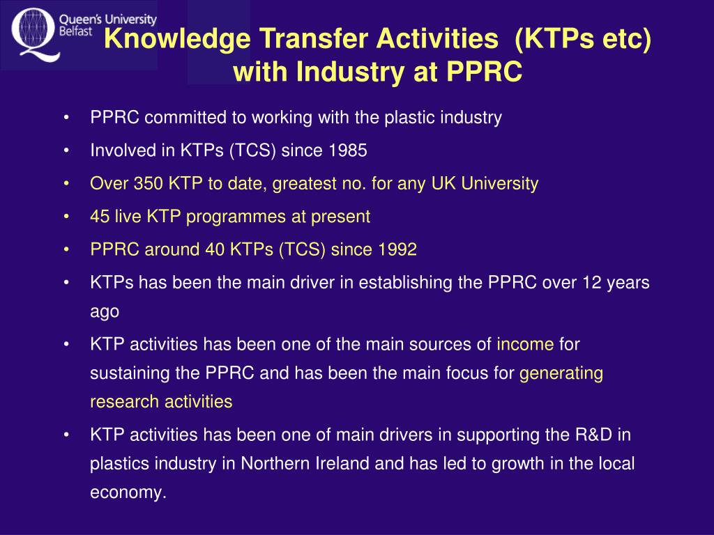 Knowledge Transfer Activities  (KTPs etc)