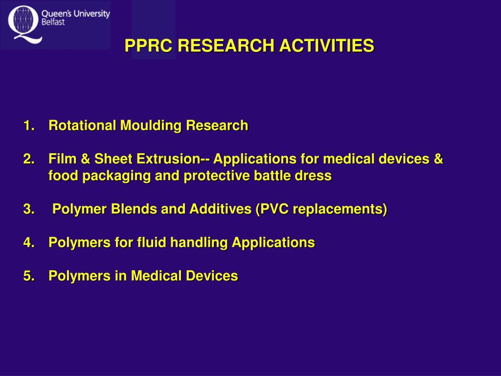 PPRC RESEARCH ACTIVITIES