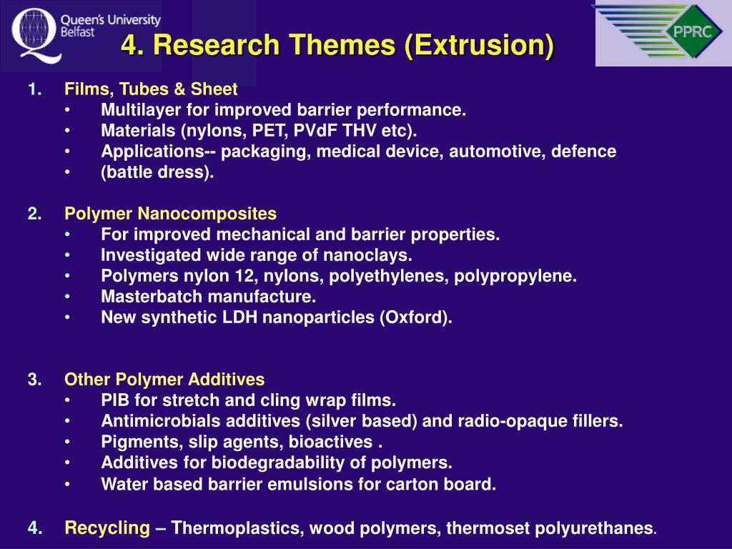 4. Research Themes (Extrusion)
