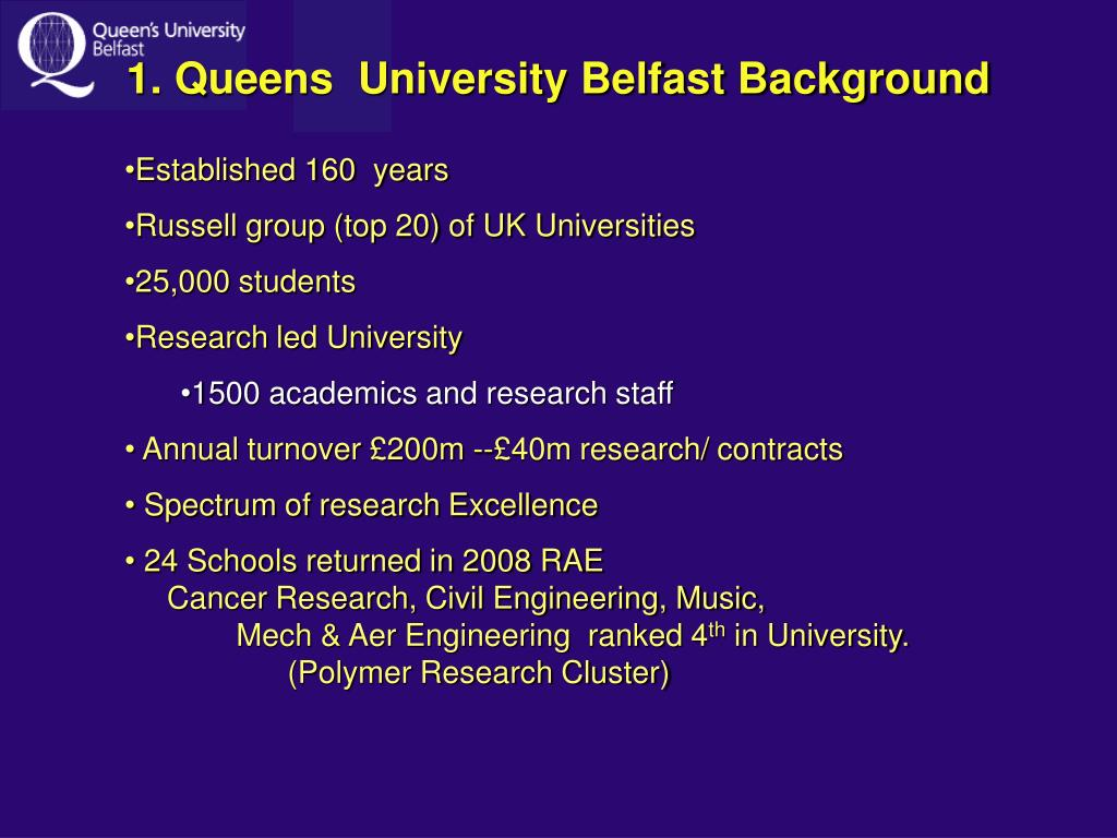 1. Queens  University Belfast Background