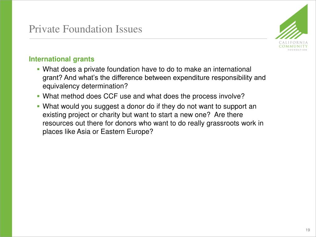 Private Foundation Issues