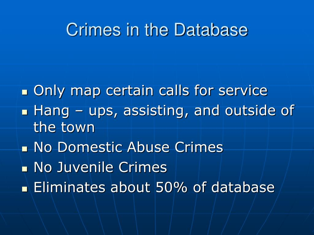 Crimes in the Database