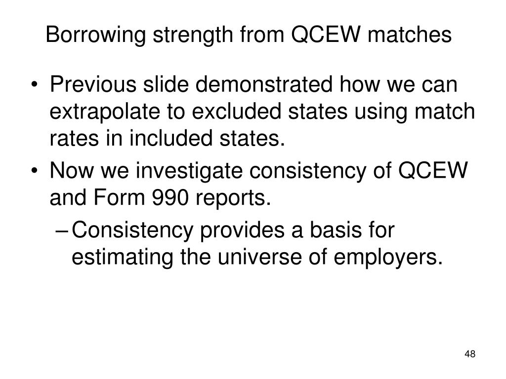 Borrowing strength from QCEW matches