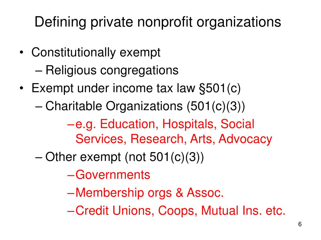 Defining private nonprofit organizations