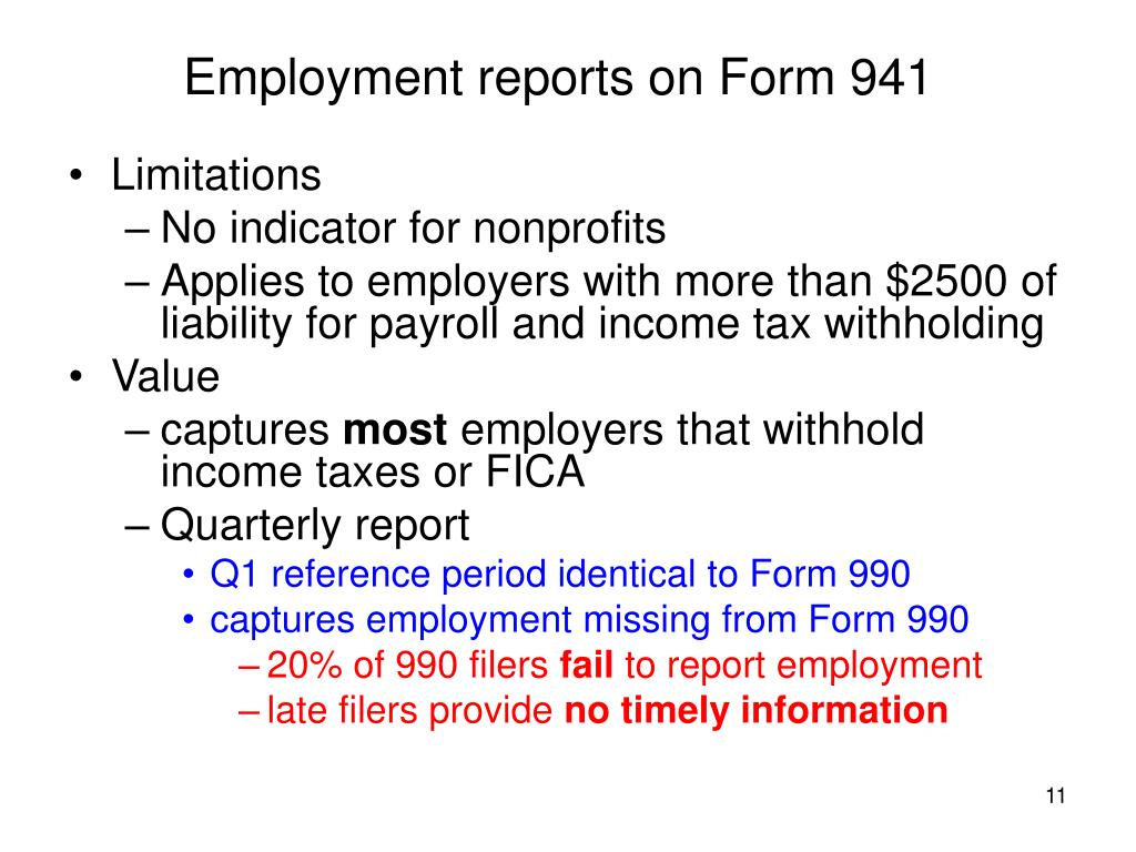 Employment reports on Form 941
