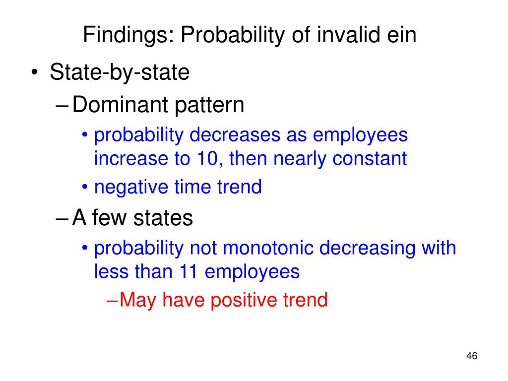 Findings: Probability of invalid ein