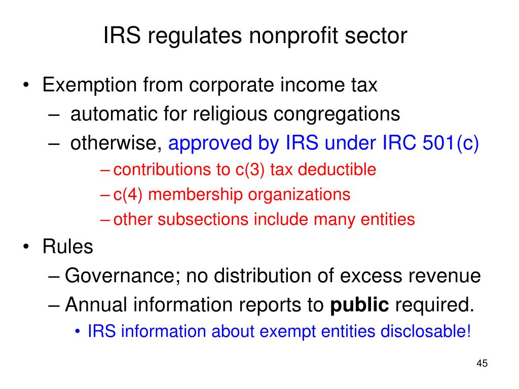 IRS regulates nonprofit sector