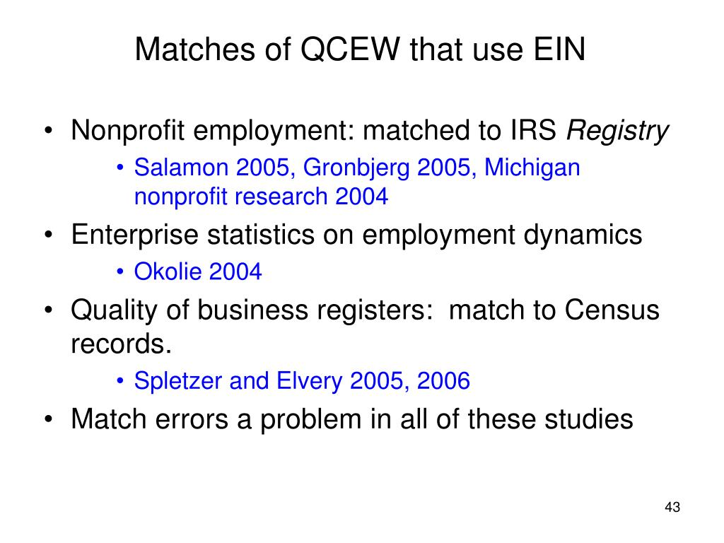 Matches of QCEW that use EIN