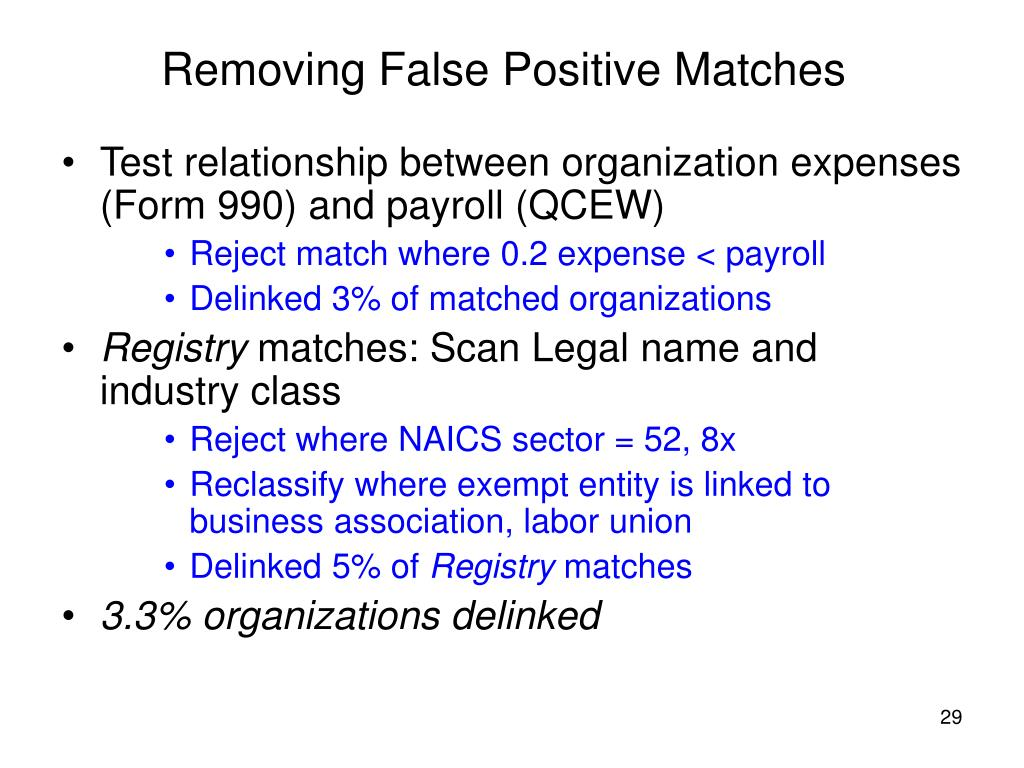 Removing False Positive Matches